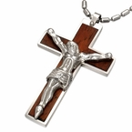 Wood Crucifix Cross pendant with Jesus