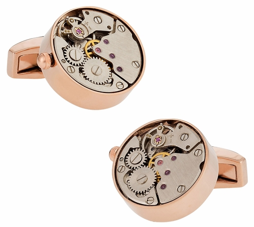 Working Rose Gold Watch Movement Steampunk Cufflinks