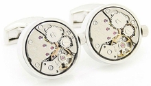 Working Silver Watch Movement Steampunk Cufflinks
