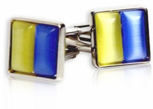 Yellow & Blue Glass Cufflinks