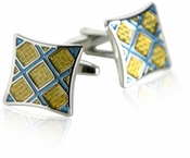 Yellow & Blue Plaid Cufflinks
