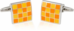 Yellow Orange Checkerboard Enamel Cufflinks