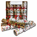 "Caspari ""Danish Winter Birds"" Christmas Crackers - Set of 6"
