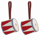 Danish Tin Drum Ornament - Set of 2