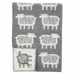 Får (Sheep) Wool Blanket - Gray or Black