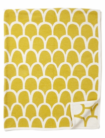 Feathers Cotton Chenille Blanke, Yellow