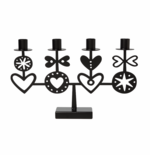 Hearts 4 Black Candle Holder