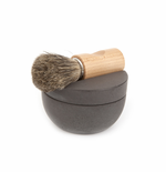 Iris Hantverk Dark Gray Concrete Shaving Cup Set - Badger Hair Brush & Soap
