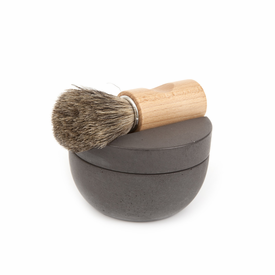 Iris Hantverk Swedish Black Concrete Shaving Cup Set - Badger Hair Brush & Soap