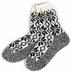 Original Selbu Norwegian Hand Knitted Men's Socks - Black & White