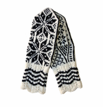 Original Selbu White/Black Norwegian Hand Knitted Women's Mittens