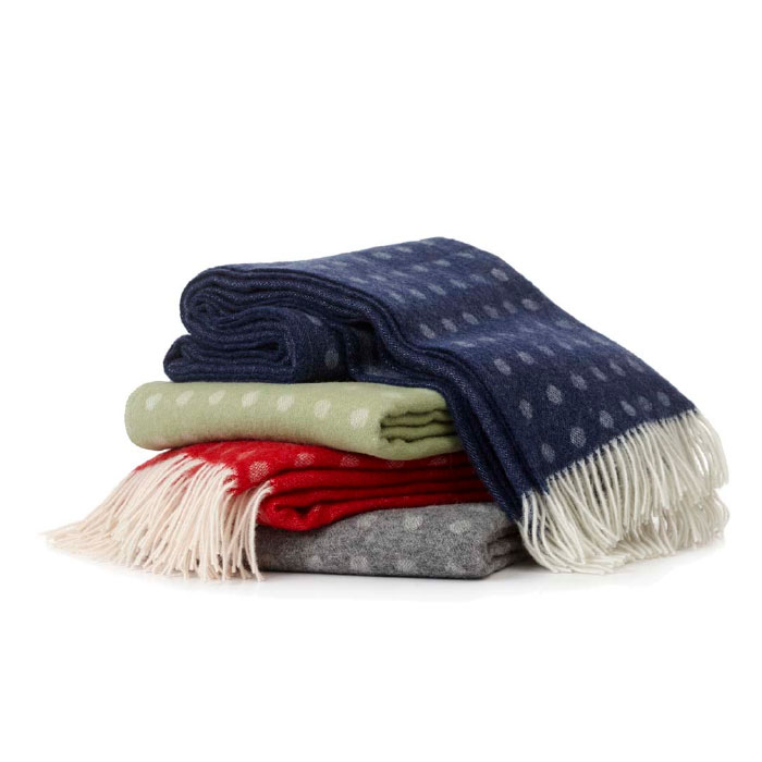 Spot Brushed Merino and Lambs Wool Blanket with Fringe - 4 Colors