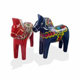 Traditional Swedish Wooden Dala Horse - Red or Blue - Click to enlarge