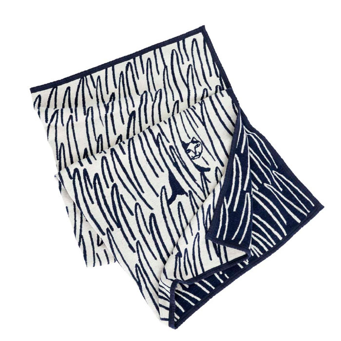 Two Cats Organic Chenille Cotton Blanket - Navy Blue