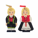 Wooden Norwegian Folk Couple Ornament