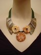Agate and Red Malachite Flower Hand-crocheted Necklace.