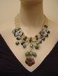 Artistic Amazonite and Aventurine Jewelry. One-of-a-Kind Necklace.