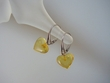 Citrine Baltic Amber Heart & Sterling Silver Earrings