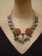 Hand Crocheted Gemstone Necklace. Red Malachite and Aventurine Jewelry.