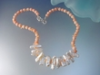 Cultured Freshwater Biwa Pearl &Pink  Coral  Necklace