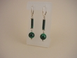 Green Malachite and Sterling Silver Dangle Earrings.