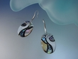 Inlay Mother of Pearl and Abalone Shell Sterling Silver Earrings