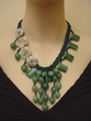 Amazonite and Aventurine Carved Stone Flower Necklace.