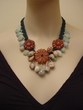 Red Malachite Hand-crocheted Necklace with Opal and Amazonite Beads.