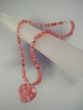 Rose Quartz Heart Sterling Silver Drop Beaded Necklace