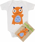 "Organic Cotton Printed  Bodysuit  ""Orange Monster"""