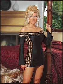 Microfiber long sleeve dress with sequin trim neckline and sides with g/s.
