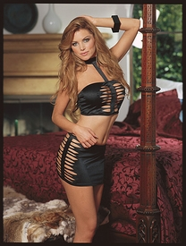 Stretch satin halter top and skirt .