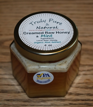 Raw Creamed Honey - Organic Mint 6 oz
