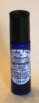 Lavender Essential Oil in a Blue Glass Roll-On