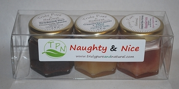 Naughty and Nice Creamed Honey Gift Pack - Chocolate, Mint, Raspberry