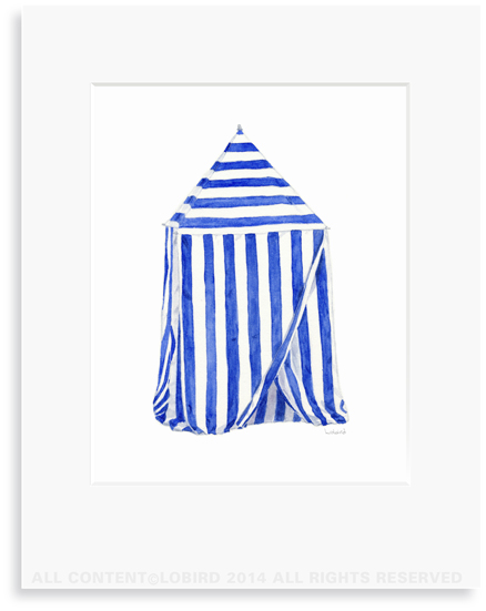 beach cabana Watercolor Art print