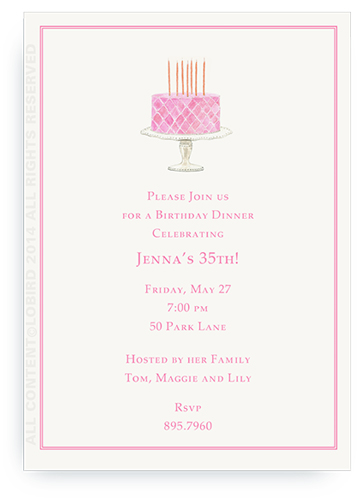 Beaded Birthday Cake-  Pink - Invitations
