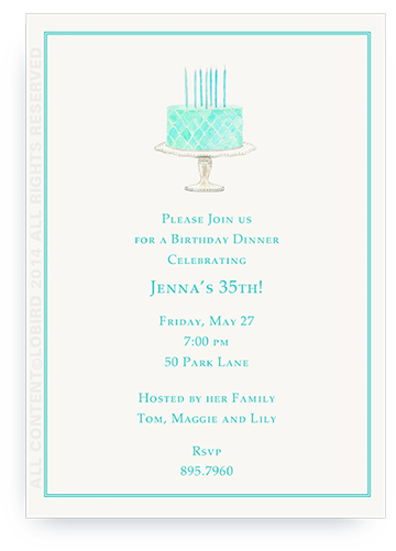 Beaded Birthday Cake-  Turquoise - Invitations