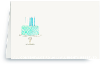 Beaded Birthday Cake - Turquoise - place cards