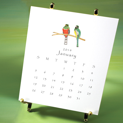 Bird Calendar 2014 displayed on brass easal