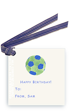 Blue-Green Soccer Ball - Gift Tags