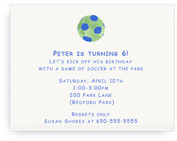 Blue - Green Soccer Ball - Invitations