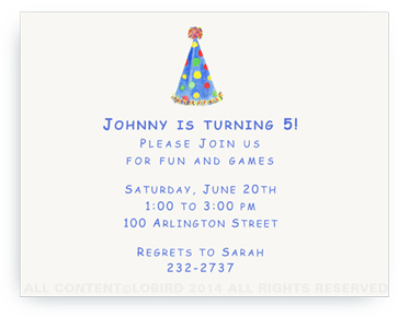 Blue Polka Dot Party Hat - Invitations