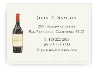 Bottle Vintage Red Wine - Calling Cards