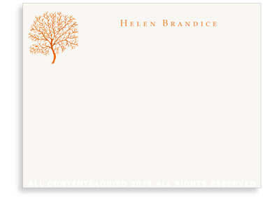 Coral Fan - Orange - Flat Note Cards