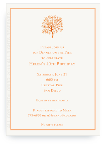 coral fan- Orange - Invitations