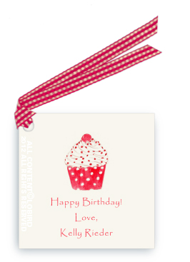 Cupcake - Red Polka Dot - Gift Tags
