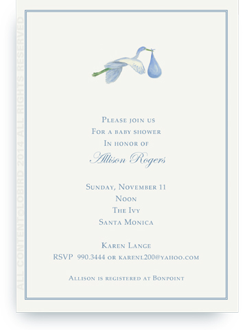 Flying Blue Stork - Invitations