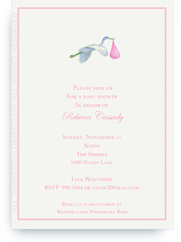 Flying Pink Stork - Invitations