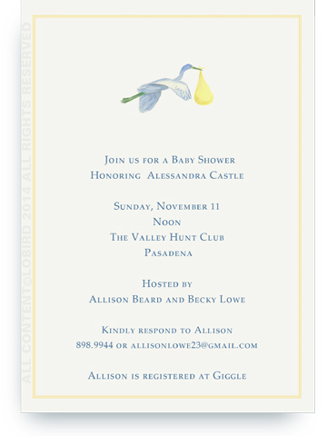 Flying Yellow Stork - Invitations
